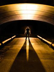 Shadowman (stephenk1977) Tags: australia queensland qld brisbane grange hermitagegardens tunnel bridge cycleway cycle path shadow light warm convoyl6 back lit lighting painting art