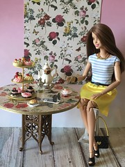 A Tasty Treat (MaxxieJames) Tags: vittoria belmonte doll mattel barbie teresa made move fashion fashionista clothes brunette collector cake desert miniatures rose coffee tea