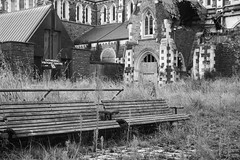 Broken cathedral and forgotten bench seats (Kiwi Jono) Tags: christchurch earthquake abandoned tokina2870f2628 pentax pentaxk1 cathedral square bench seat