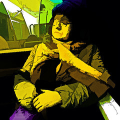 woman on the train (j.p.yef) Tags: peterfey jpyef digitalart people woman train metro ubahn germany hamburg