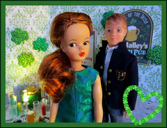 15. Lucky in Love (Foxy Belle) Tags: doll story diorama date romance tammy ideal vintage st patricks day green holiday pattys pub food 16 scale playscale wig liv