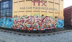 Jero (DARKMYTE) Tags: metal icrcrew la cali california ca rusto rolling rollingart box boxcar paint art graff graffiti graffitti steel nightshift royalty hero mighty etch trig betor rip