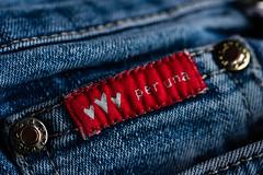 Three Hearts (PhilR1000) Tags: peruna ms jeans label macromondays macro clothtextile fabric denim rivet