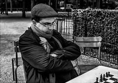 (′︿‵。) !!'! ? ςıɹǝᕤ !! (vedebe) Tags: noiretblanc netb nb bw monochrome humain people jeux sport sportifs joueur echecs ville rue street urbain city