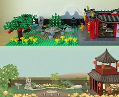 Comparison at 13:00 (yetanothermocaccount) Tags: lego moc ninjago chinese asian tea kungfu park garden architecture ideas river rush fish google gmail