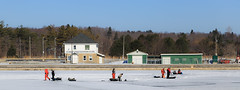 Spring Ice Fishing (Note-ables by Lynn) Tags: icefishing owensound greycounty georgianbay winterlandscape harbours greatlakes