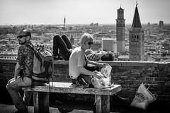 Moods (Roberto Spagnoli) Tags: statodanimo mood verona people panorama città town campanile belltower biancoenero blackandwhite fotografiadistrada streetphotography