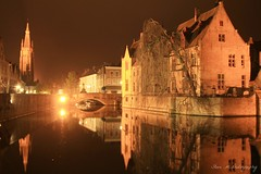 Canal night reflections (Steve M Photography) Tags: bruges belgium architecture brugge historic reflections reflectionsinwater waterreflections night longexposure europe tourism vacation citybreak citylights culture flanders gastronomic medieval brightlights heritage atmospheric eerie moody spooky ghostly canal