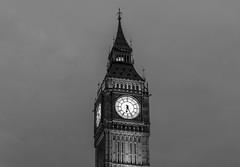 Ben at night (hermilo87) Tags: london bigben big ben uk england bw black white clock tower clouds