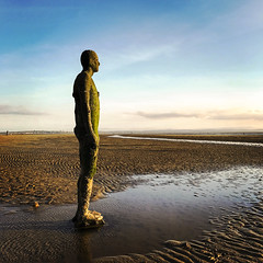 Another Place by Anthony Gormley (Steven Vacher) Tags: beach sea anthonygormley anotherplace iphone
