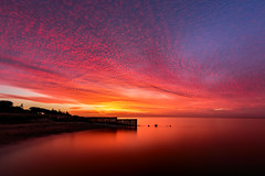 Chimera (Marty Friedel) Tags: victoria sunrise portphilipbay water werribee longexposure werribeesouth sea morning beach ocean red weather sky seascape lansdscape clouds groyne australia au