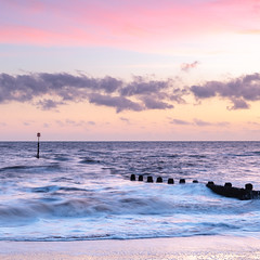 Sunrise at Cromer (Paul Cronin 1) Tags: northeastcoast landscape groynes pier northsea leefilter canon longexposure pavilliontheatre eastcoast cromer shore sunrise waves sky seascape canon5ds sea norfolk seaside squarecrop