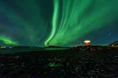 The guiding light (Halldor Ingi) Tags: aurora auroraborealis iceland nikon nikkor 1424 2017 halldor ingi lighthouse northern lights