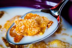 Famous Flakes (eddm1962) Tags: macromondays glaze flakes breakfastcereal cereal inmilk spoonfull famousflakes breakfast