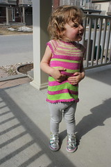Zoe, 2 years 36 weeks old 5 (peridragon) Tags: zoe toddler knitting testknit neonpinnet spacecadet ravelry