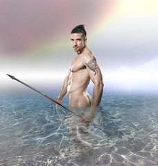 Lone fisherman (irestless) Tags: man men model models muscles male morning arm arms abdominal allaperto body beard chest colors clouds color face onda eye eyes fisherman hairy hair nipple lips light nature uomo portrait persone paradise person turquoise sky tattoo tattoos water sea irestles