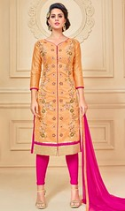 Orange Color Embroidered Chanderi Cotton Churidar Dress