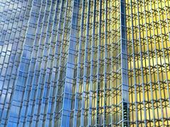 Royal Bank Tower, Toronto, Ontario (duaneschermerhorn) Tags: rbc royalbanktower skyscraper building toronto ontario canada glass glassfacade modern contemporary modernarchitecture contemporaryarchitecture architect wzmharchitects wzmh reflection colorful gold sky blue clouds financial financialdistrict