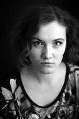 Slightly mad (DianaDeluxe Jewelry) Tags: eyesmadangry eyes mad angry women girl shorthair curlyhair curls blackandwhite monochrome portrait actress