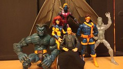 The Original Five X-Men (peanutsinspace) Tags: marvelcomics marvel marvellegends toybiz toybizlegends hasbrolegends hasbro xmen actionfigure originalxmen beast cyclops jeangrey iceman professorx archangel