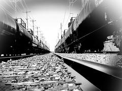 Converging Tank Cars (nelhiebelv) Tags: trains tankcars railroad railyard lansing michigan
