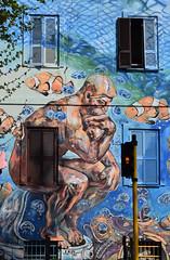 Il dilemma (red, green or yellow?) (Maurizio Belisario) Tags: roma rome murale torpignattara arte art artistidistrada carlosatoche casa house coloreforte blu finestre windows pensatore semaforo trafficlight