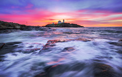 Nubble Light (Robert Clifford) Tags: 5d canon capeneddick maine mainetheway markiii newengland nubble photowalk robcliffordphotography york beach coastline color lighthouse longexposure motion ocean robertcliffordcom sky sunrise tourism water waves