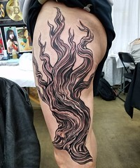 Bristle cone pine all in one go. Next session some foliage #treetattoo #phillytattoo
