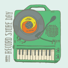 Record Store Day Illustration (mightymoss) Tags: rsd17 record store day 2017 illustration drawing evan moss mightymoss portable player keyboard 45 beatles hello goodbye