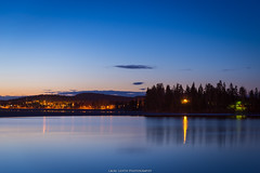 Spring night (laurilehtophotography) Tags: palokka jyväskylä suomi finland nikon d610 tamron 2470mm f28 landscape sky bluehour clouds water reflections evening laurilehtophotography forest city longexposure maisema