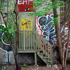 Eat (Torganiel) Tags: door tree stairs trash square graffiti montreal g10 torganiel