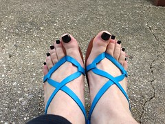 Blue Thong Sandals (nonamefeet) Tags: male guy feet fetish foot toes toe sandals cd thong pedicure sandal footfetish paintedtoes malefeet feetfetish thongsandals guyfeet malepedicure guypedicure cdfeet cdtoes