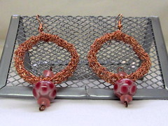 Copper tube earrings with glass lampwork beads (cindycreativecrochet) Tags: pink red glass hoop circle wire handmade crochet jewelry canadian copper bead earrings saskatchewan lampwork hollow cindyscreativecrochet