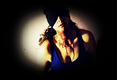 **Asphyxiation (Despina Titoni) Tags: blue portrait color girl dark neck blood raw strangle paranoid bloody conceptual choke blindfold bluedress