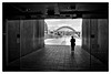 Looking towards the High Level Bridge from inside the Baltic (wayman2011) Tags: street urban bw architecture buildings river newcastle bridges tyne canon400d