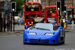 Bugatti EB110 in London (Knightsbridge) (Rmy | www.chtiphotocar.com) Tags: street blue france london car sport race french hotel nikon 110 sigma spot racing turbo londres spotted bugatti supercar spotting eb sportscar lightroom sighting v12 spotter ettore eb110 hypercar worldcars