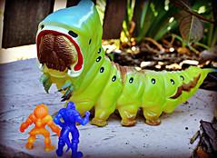Monster in the Garden (LittleWeirdos) Tags: toy toys caterpillar monsters minifigure minifigures rubbermonster giantcaterpillar monstertoys rubberfigures mysticalwarriorsofthering