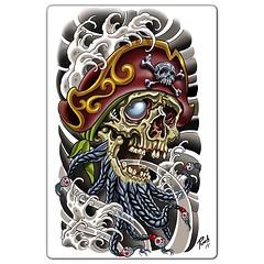 Blackbeard skull #blackbeard #pirate #piratetattoo #pirateskull