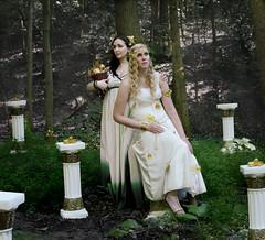Demeter and Persephone (Rachel.Adams) Tags: portrait girl greek photography gold demeter pretty dress columns story fantasy legend persephone myth greekgod greekmyth greeklegend demeterandpersephone persephoneanddemeter