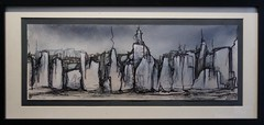 Calligraphic Landscape drawing (Los Dave) Tags: abstract colour art texture pencil ink dark painting landscape found paint acrylic recycled drawing decay pastel horizon canvas driftwood charcoal series spraypaint lush prehistoric graphite materials lacquer primordial unpopulated upcycled