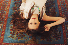 Lazy Sundays IX (Ella Ruth) Tags: portrait woman house home girl fashion 50mm necklace photographer patterns leicester 14 longhair makeup naturallight shrewsbury indoors rug redlips femalemodel lipstick brunette patterned sarahgray nikond90 ellaruth