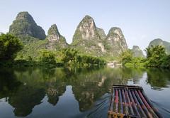 Mountain reflection (Roon & Beks) Tags: china river li nikon yangshuo bamboo raft d7000
