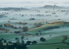 Somerset Levels (Mukumbura) Tags: uk morning autumn trees light england mist fall beauty fog sunrise landscape outdoors dawn countryside october scenery shadows somerset hills tranquil daybreak priddy somersetlevels peacefulscene mendiphills deerleap welcomeuk