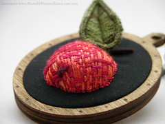 The All Hallows Crabapple Pendant (MotherEagle) Tags: art apple woodland miniature wooden handmade embroidery craft folklore jewelry pins jewellery magical poisonous crabapple pendants byhand stumpwork jacobean handembroidered brocches mothereagle