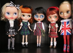 School girls all in a row