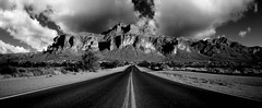 Haunted Highway (Donald Palansky Photography) Tags: road arizona blackandwhite mystery highway sony alpha fineartphotography superstitionmountain arizonahighways lostdutchmansgold sonydslra900 donaldpalansky hauntedhighway