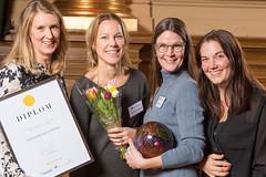 Susanne Bergh, Matilda Ringström, Sofia Grosche och Liza Hansson från Länsförsäkringar, vinnare av Web Service Award 2013 i klassen Mobil/app.