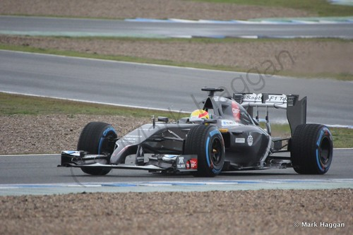 Esteban Gutierrez in his Sauber at Formula One Winter Testing 2014