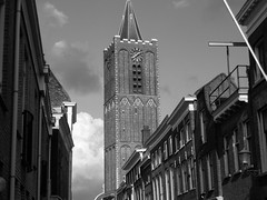 Street and church in Schiedam ,the Netherlands (STEHOUWER AND RECIO) Tags: schiedam nederland thenetherlands holland architecture architectuur straat kerk huizen houses southholland zuidholland urban bw contrast contrasts populartags tag tags popular photography photo image composition camera capture