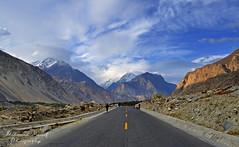 Gilgit-Hunza Road! (Shehzaad Maroof Khan) Tags: road blue pakistan sky people snow mountains nature clouds landscape golden evening nikon path hour kkh peaks hunza gilgit concordians gilgitbaltistan